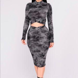 Disorderly Skirt Set - Grey Multi